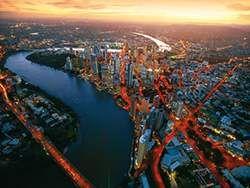 Brisbane city aerial at dusk