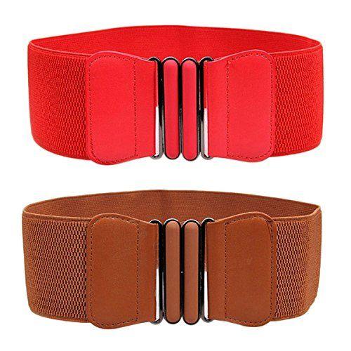 Ladies Elastic Stretch PU Leather Cinch Wide Waist Hip Waistband Belt Durable