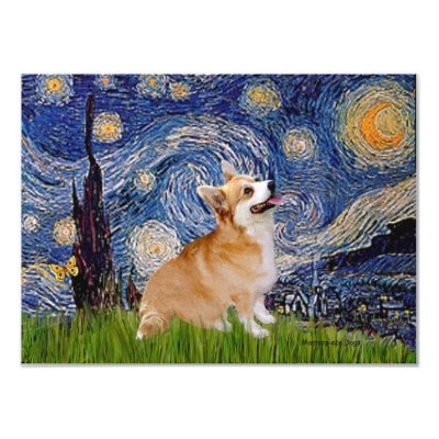 Welsh Corgi Pembroke -  Starry Night Print by masterpiecedogs: Corgi Art, Night Poster, Starry Night, Corgi Puppies, Gogh Impressions, Nature Favorites, Dogs Puppies, Corgi Pembroke