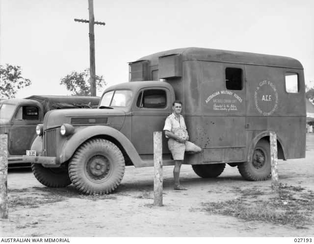 ADELAIDE RIVER, N.T. AUSTRALIA. 1942-10-13. THE VEHICLE WHICH CONTAINS THE…