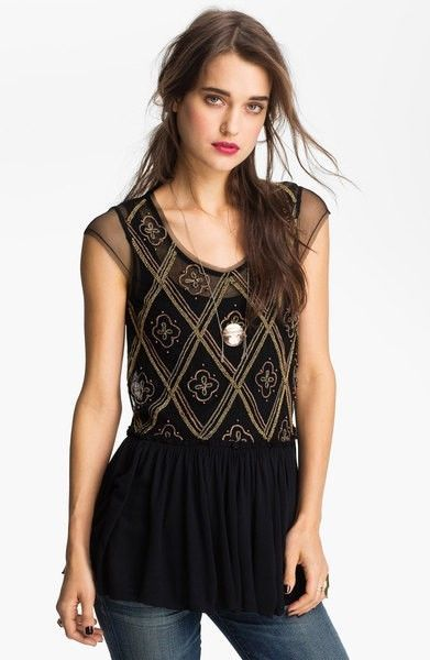Free People Black Embellished Knit Peplum Sheer Top Beads Holiday to India S 128 #FreePeople #Peplum #EveningOccasion: