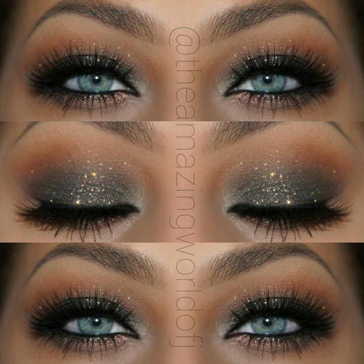 "Elegant Glitter Smokey Eye Makeup That Makes Her Blue Eyes ""POP"" ~ Stunning…"