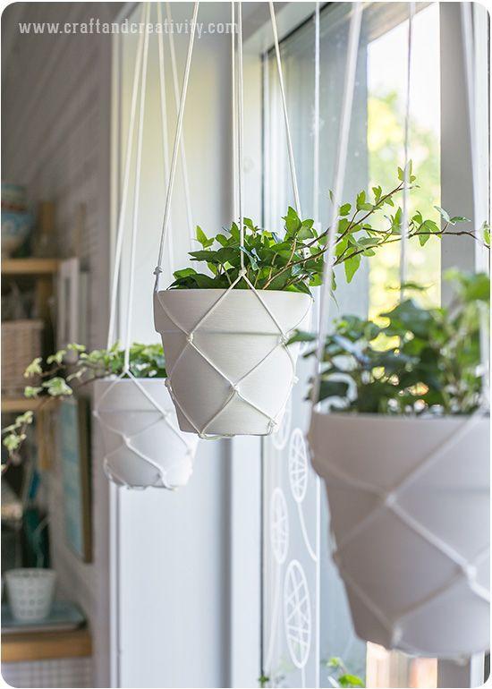 Macramé hanging planters - by Craft & Creativity: