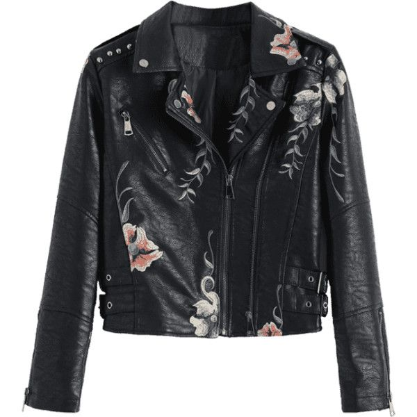 Floral Patched Rivet Faux Leather Jacket (€26) ❤ liked on Polyvore featuring outerwear, jackets, rivet jacket, fake leather jacket, imitation leather jacket, flower print jacket and floral-print bomber jackets