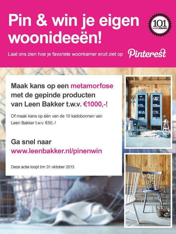 Pin & Win je eigen woonideeën! Maak kans op een metamorfose met de gepinde producten van Leen Bakker t.w.v. €1000,-!