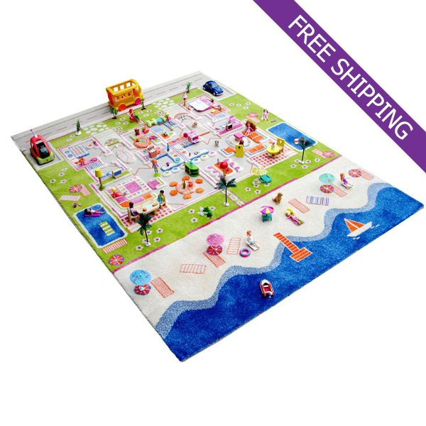 Ivi Kids Play Rug Twin Houses Large