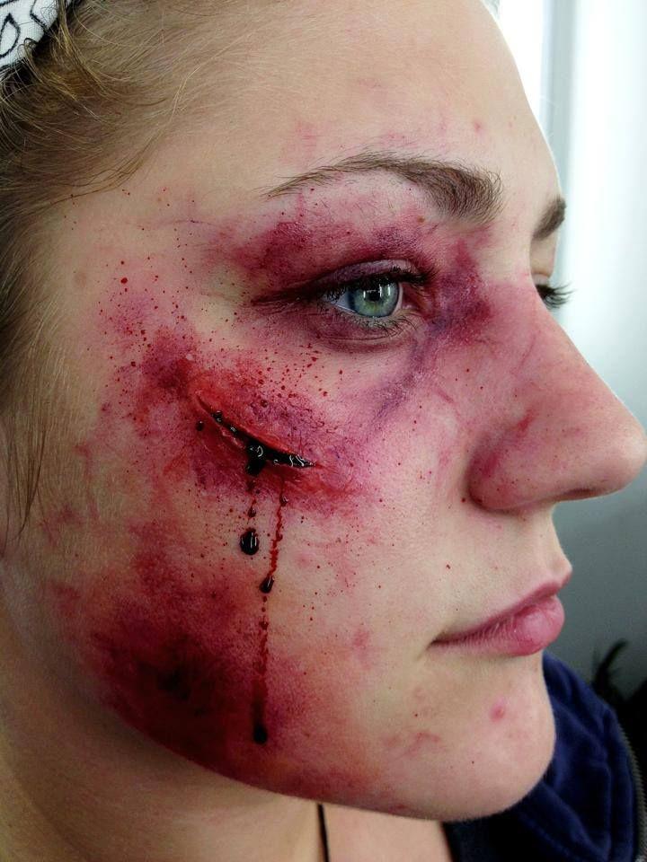 Beaten up makeup on Samantha, close up