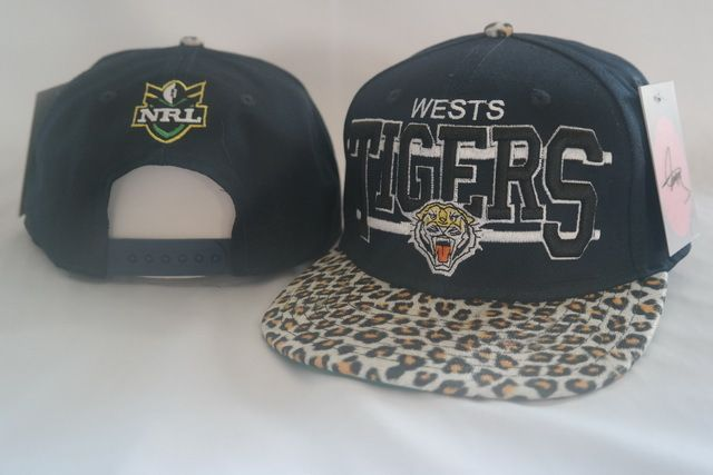 NRL Weswts Tigers Navy Snapback Hats Brim Leopard Leather