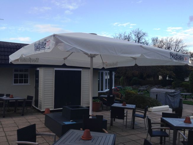 Another Giant Umbrella! This one is at The Glegg Arms, Beefeater pub in the Wirral.  Installed & supplied by Shades of Comfort Ltd.