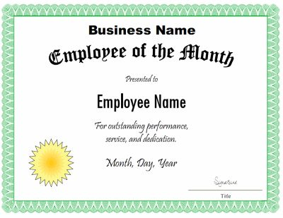 Employee of the month certificate template. Customize the title, description, and other fields with the free downloads at http://mycertificatetemplates.com/download/employee-of-the-month-certificate/