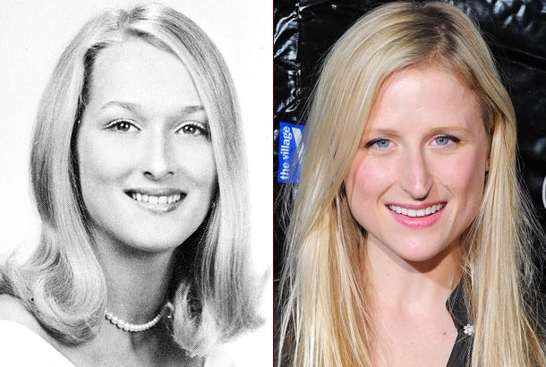 Mamie Gummer and mother Meryl Streep.  Bearing a striking resemblance to her daughter, Meryl poses for her senior photo in 1967 at Bernards High School in Bernardsville, New Jersey. At age 3, Mamie appeared with her mom in 1986′s Heartburn.
