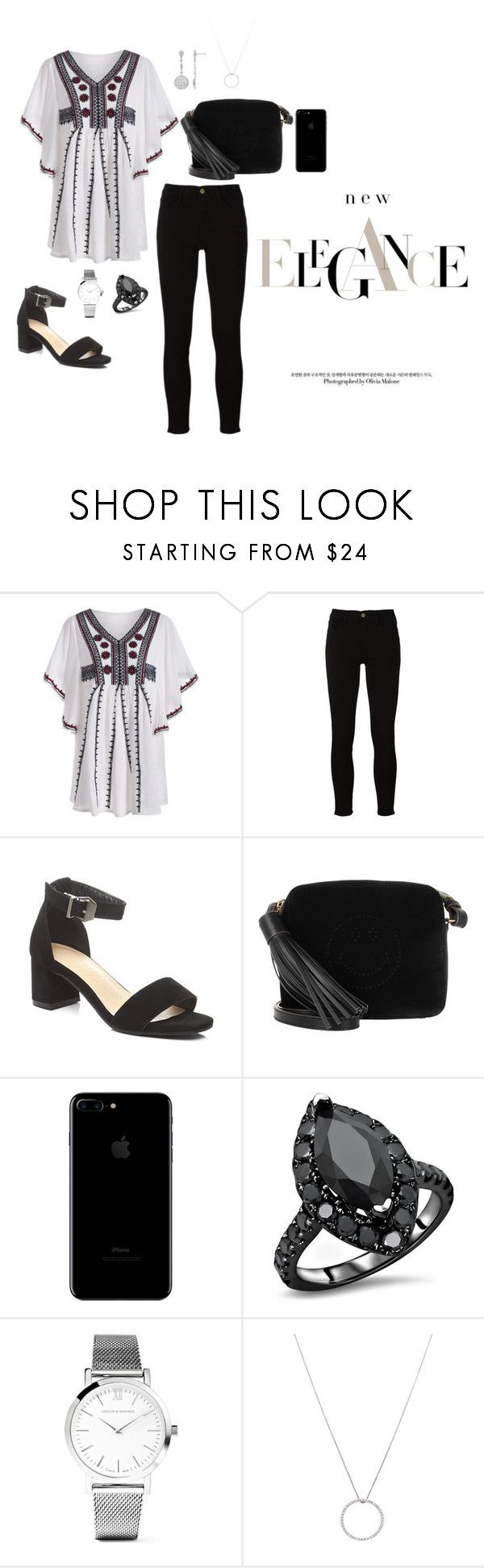 """""""Untitled #43"""" by hartatiayu ❤ liked on Polyvore featuring Frame, Anya Hindmarch, Larsson & Jennings and Roberto Coin"""