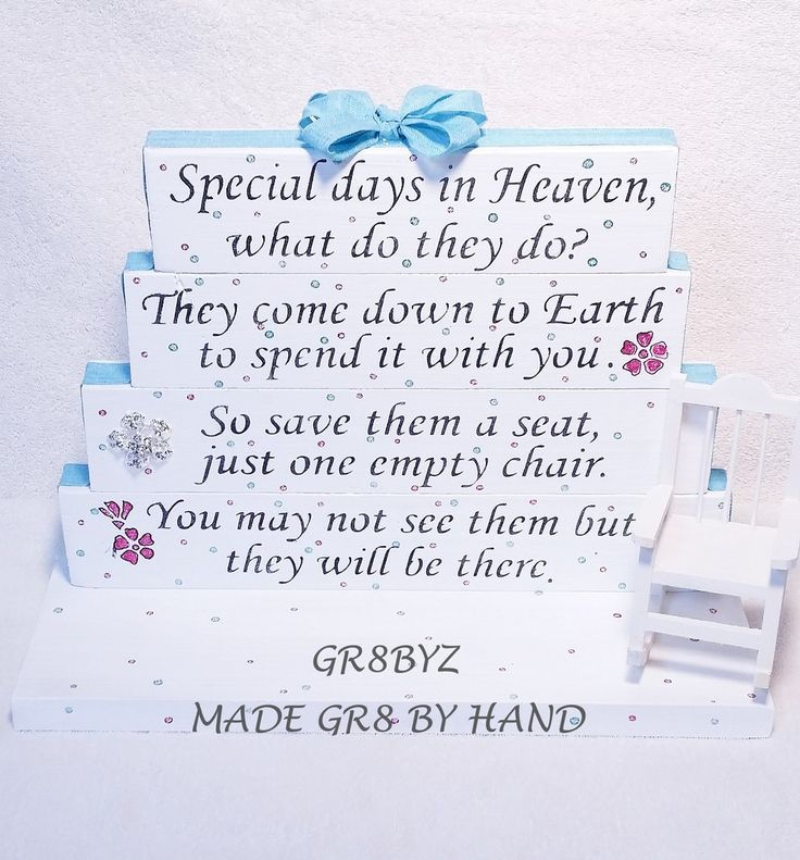 Special Days in Heaven poem table top display handmade memorial decor – gr8byz4u