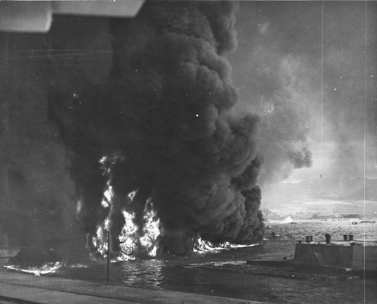 Fuel burning in Gibeah, Pearl Harbour.