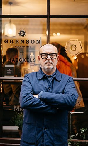 Grenson + Haeckels // Tim Little outside the Soho Store for the Fragrance launch party