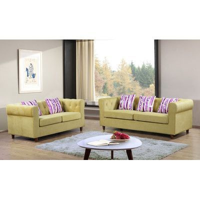 Container Obscure 2 Pieces Sofa and Loveseat Set Color: Yellow