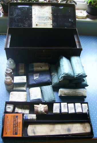 Fire Service 1938 WW2 era first aid box and contents   eBay