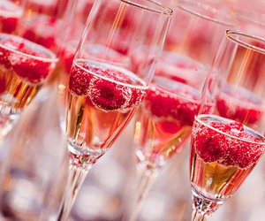 raspberries in champagne