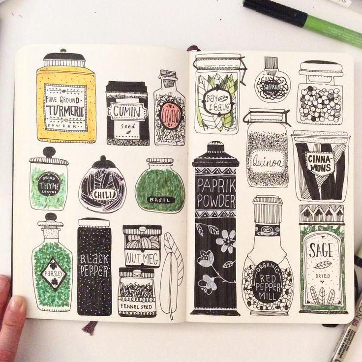 Frascos especias drawings