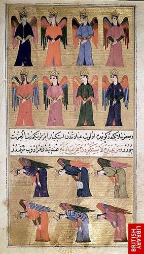 Angels at Prayer. 'Aca'ib ul-mahlukat, 10th/16th century, Sururi's translation of Kazvini on Wonders of Creation. Ottoman Turkish  ©The British Library
