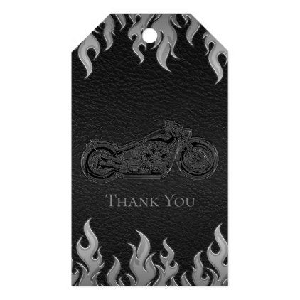 Black Leather Silver Chrome Motorcycle Biker Party Gift Tags - engagement gifts ideas diy special unique personalize