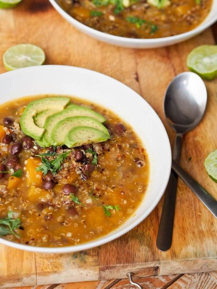 Vegan Quinoa Black Bean Pumpkin Soup (Vegan Pumpkin Recipes) /// The second contender for best combined comfort and healthy meal. One thing is for sure: you won't be lacking protein after a bowl of this extra yummy soup. When you are tired of tofu, this dish will always be there for you. Slimming down has never been more satisfying.