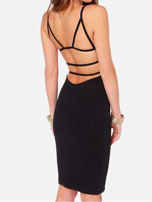Black Spaghetti Strap Backless Bodycon Dress