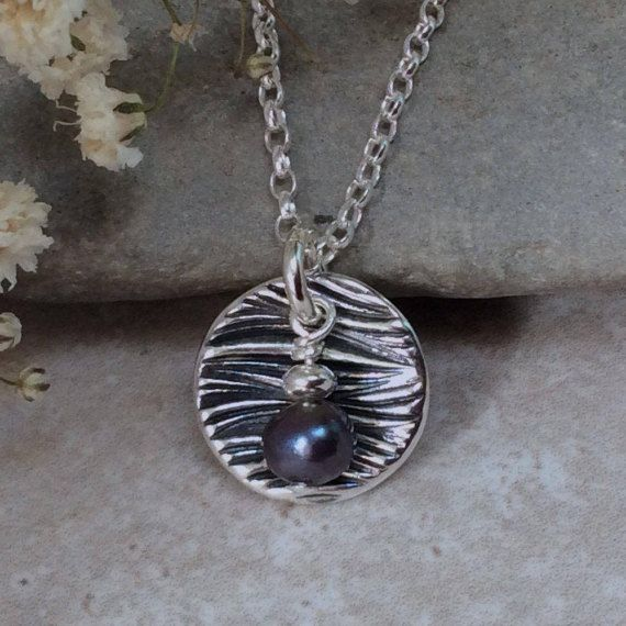 Silver necklace fine silver black pearl by BlueRockJewellery