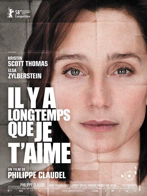 Il y a longtemps que je t'aime est un film de Philippe Claudel avec Kristin Scott Thomas, Elsa Zylberstein. Synopsis : Pendant 15 années, Juliette n'a eu aucun lien avec sa famille qui l'avait rejetée. Alors que la vie les a violemment séparées, elle retrouve sa soeur