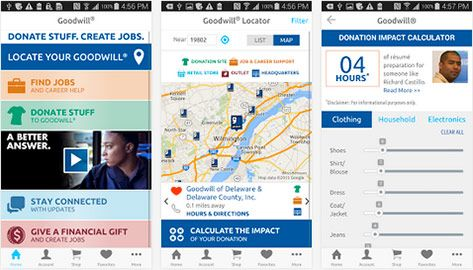 Impact App: Goodwill Industries International produces a mobile app. with a drop-off locator and impact calculator for donors. Instant feedback by measurement.