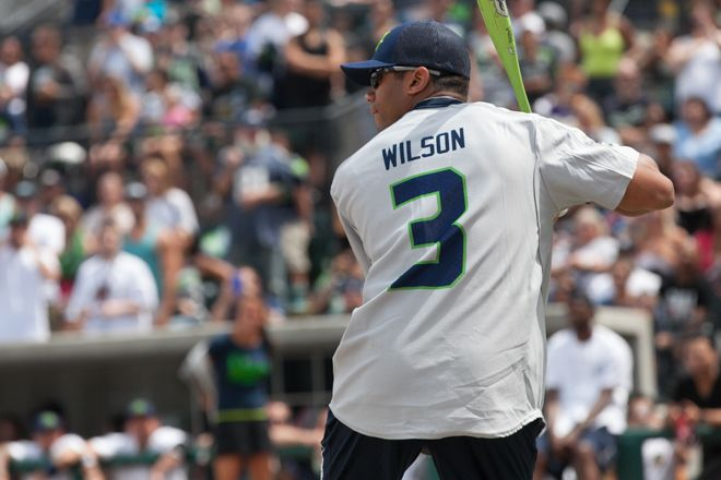 #Seahawks quarterback Russell Wilson at Richard Sherman Softball Game #NFL