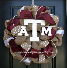 Texas A&M Burlap Wreath Burlap Aggie by CreationsbySaraJane, $95.00