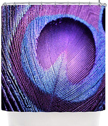 "Kess InHouse Monika Strigel ""Purple Peacock"" Lavender Shower Curtain, 69 by 70-Inch"