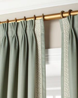 image result for light blue curtains with khaki tape trim