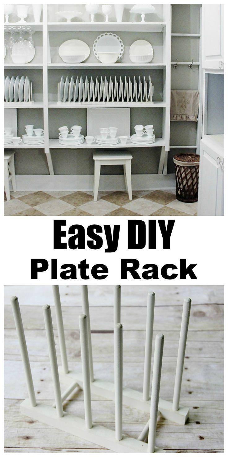 Easy DIY Plate Rack!  This plate rack looks custom....but it is so easy to create!