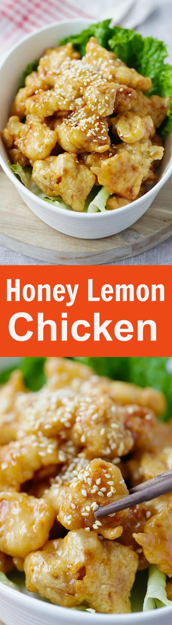 Honey Lemon Chicken – crispy chicken with AMAZING honey lemon sauce. Quick and easy recipe that anyone can make at home | rasamalaysia.com