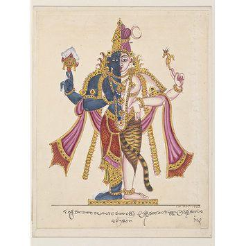 Painting - Hari-hara, the union of Vishnu and Shiva