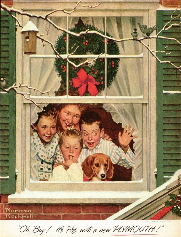 1952 norman rockwell christmas oh boy its pop with a new plymouth car ad