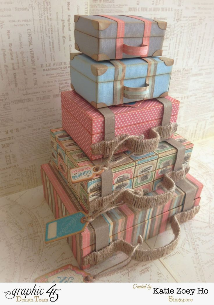 Graphic 45 Come Away with Me Stacked Suitcases #graphic45 #comeawaywithme #stackedsuitcases