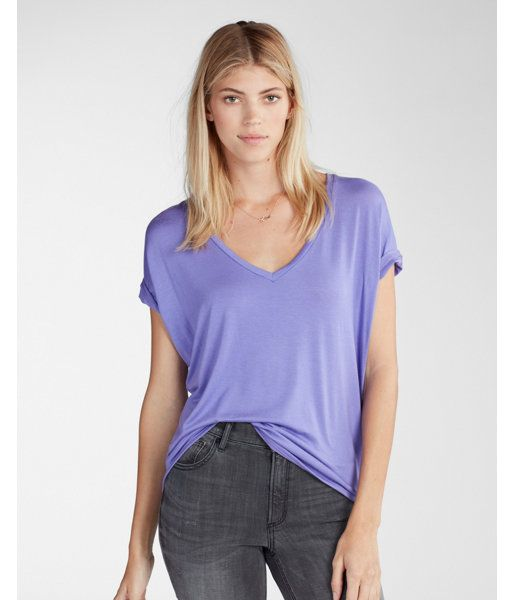 Express One Eleven V-Neck London Tee Purple Women's X Small