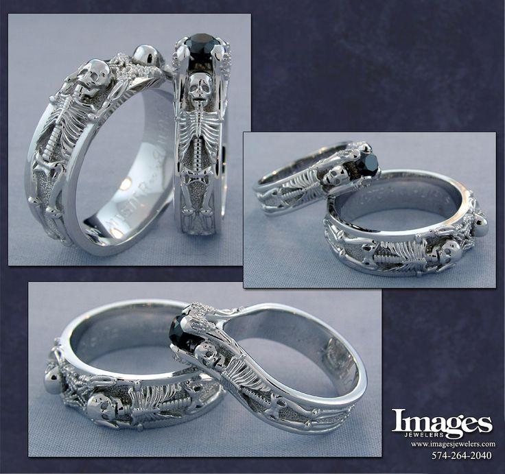 Custom Skeleton Engagement Ring with Black Diamond and Custom Men's Skeleton Wedding Ring #imagesjewelers #skeletonring #blackdiamond
