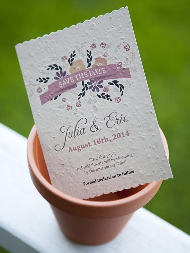 """DIY Save the Date invitation - printed on seed paper using a regular ink jet printer!!! """"plant the paper and wild flowers will be blooming by the time you say I do!"""" #somethingturquoise #diynetwork"""
