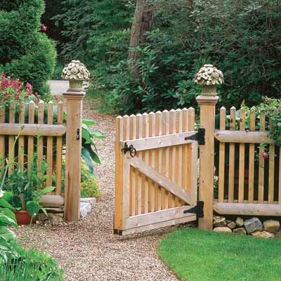 decorative post toppers on exterior entry fence for easy upgrade.  Hmm... good for the deck, too