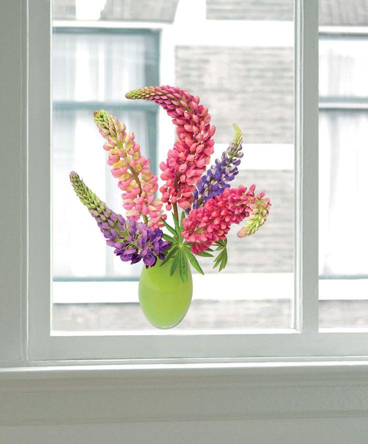 Flat Flowers fönsterstickers 'Lupiner' -  Ett vackert och originellt alternativt till en bukett blommor! Flat Flowers – färgglada, transparenta, självhäftande fönsterstickers med blommor som fyller ditt hem med blomsterbuketter, varje dag!