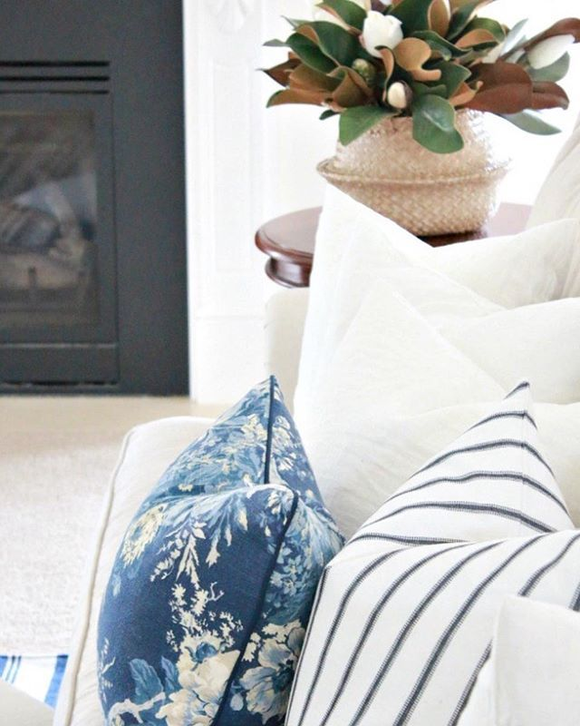Blue and white cushions.  Country style home.  Hamptons style decor.