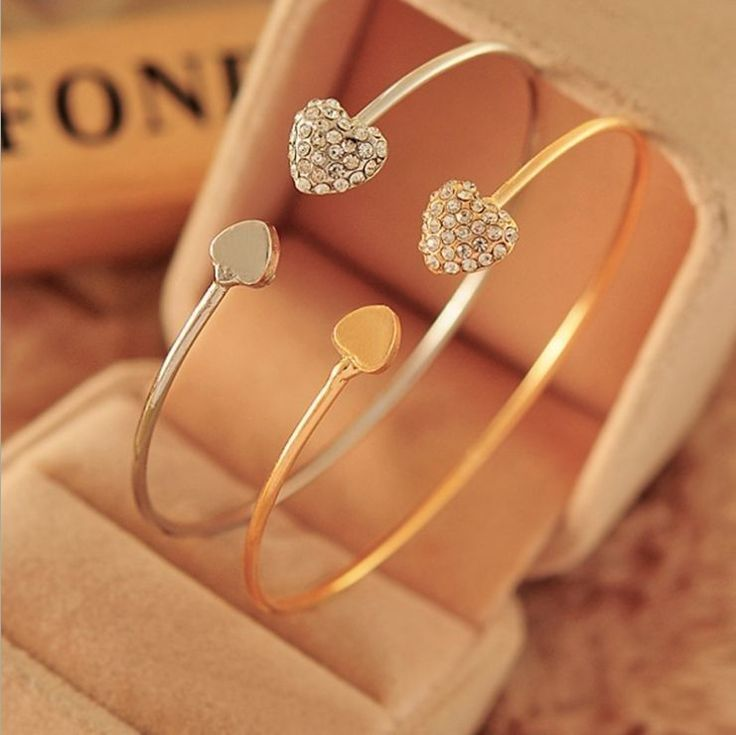 Charming delicate heart bangle. Cuff style. A must have!