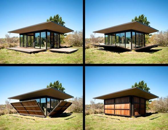 dropdown shutter-wall-decks (False Bay Writer's Cabin, San Juan Islands, Washington, USA) (Olson Kundig Architects)