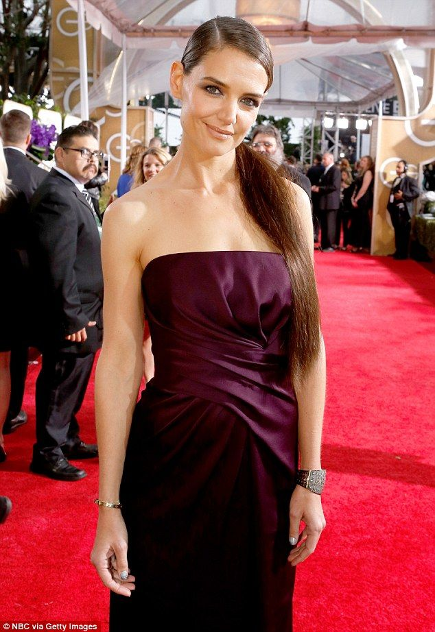 Regal Katie Holmes dons long hair extensions at Golden