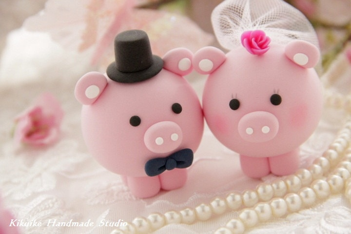 Pig Bride And Groom Cake Toppers