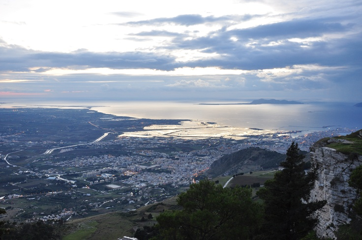 the city of Trapani, view from Mount Erice, he Egadi islands background, Sicily, Italy    lauramariamino photo ©